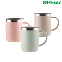 420ML Eco-friendly Wheat Straw Stainless Steel Coffee Mug Drinking Cup